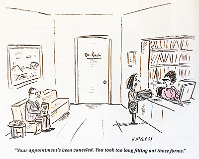 Cartoon of patient attempting to fill out forms